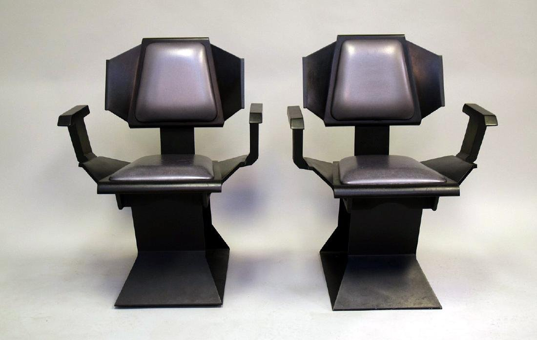 "Pair ""Star Trek"" chairs, black wood , silver seats and - 2"