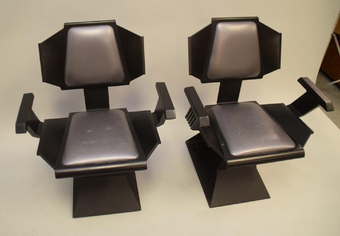 "Pair ""Star Trek"" chairs, black wood , silver seats and - 3"