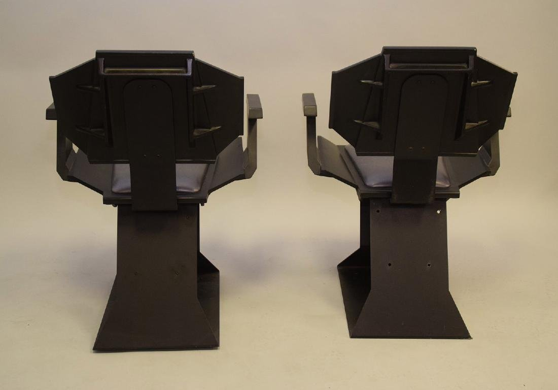 "Pair ""Star Trek"" chairs, black wood , silver seats and - 4"