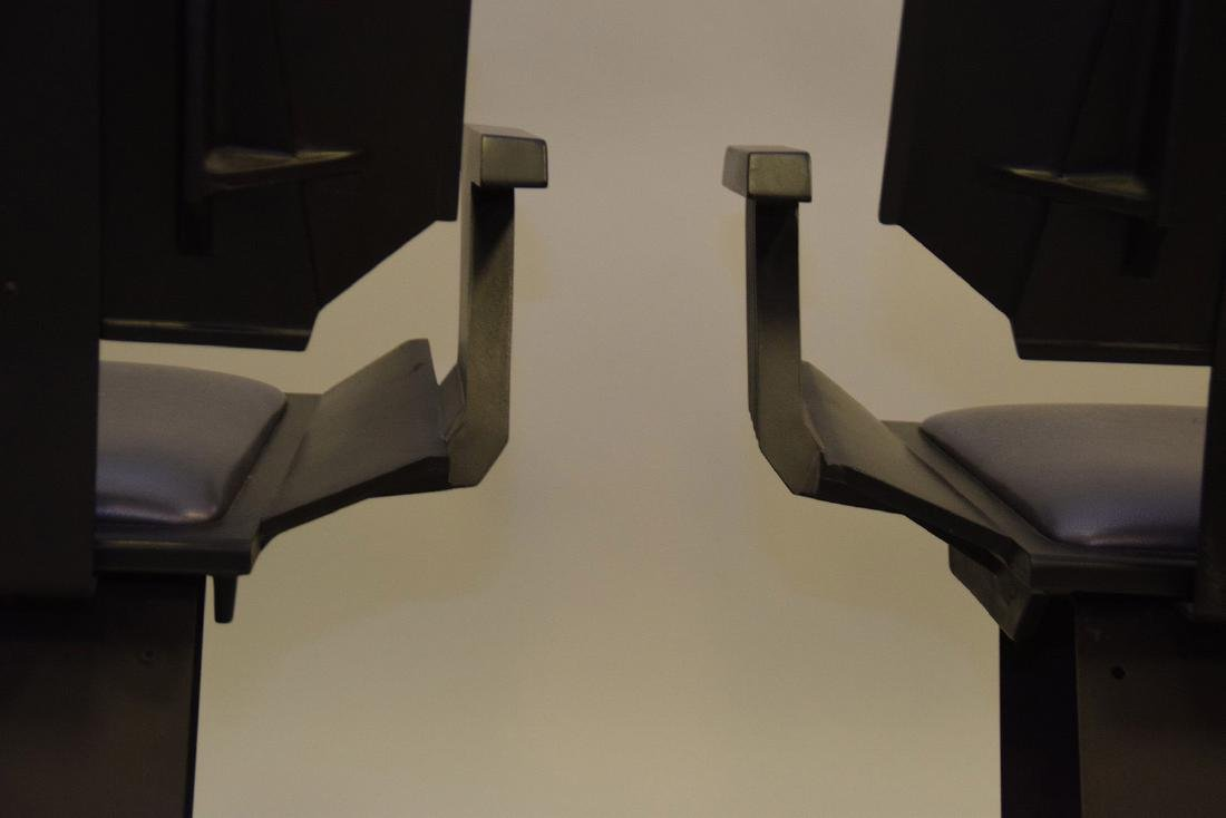 "Pair ""Star Trek"" chairs, black wood , silver seats and - 5"