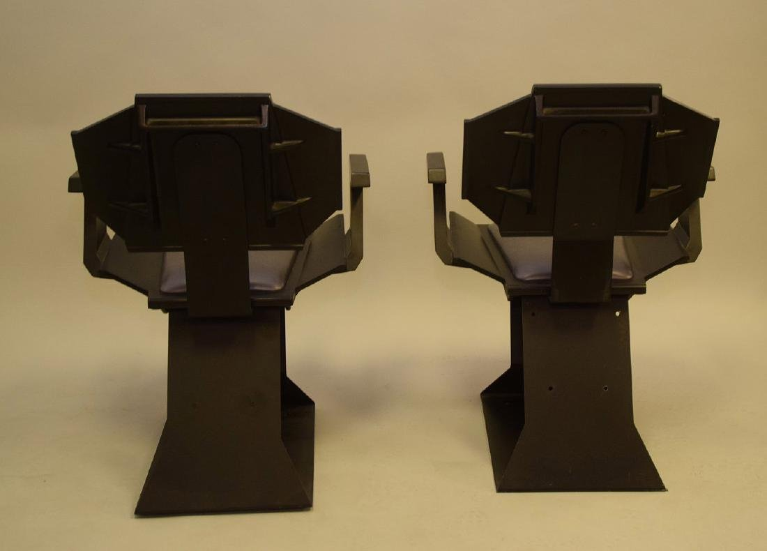 "Pair ""Star Trek"" chairs, black wood , silver seats and - 6"