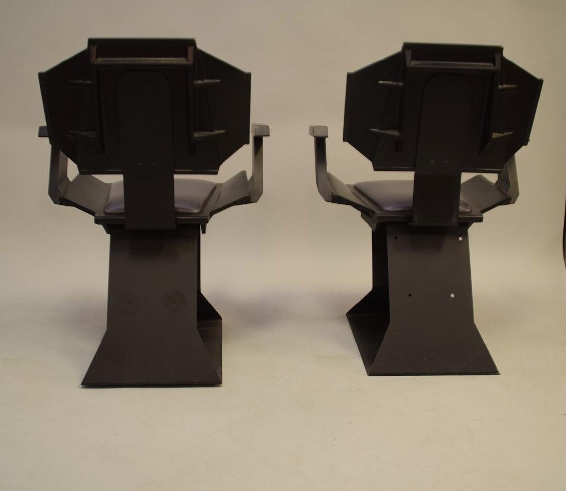 "Pair ""Star Trek"" chairs, black wood , silver seats and - 8"