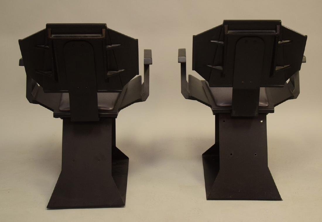 "Pair ""Star Trek"" chairs, black wood , silver seats and - 9"