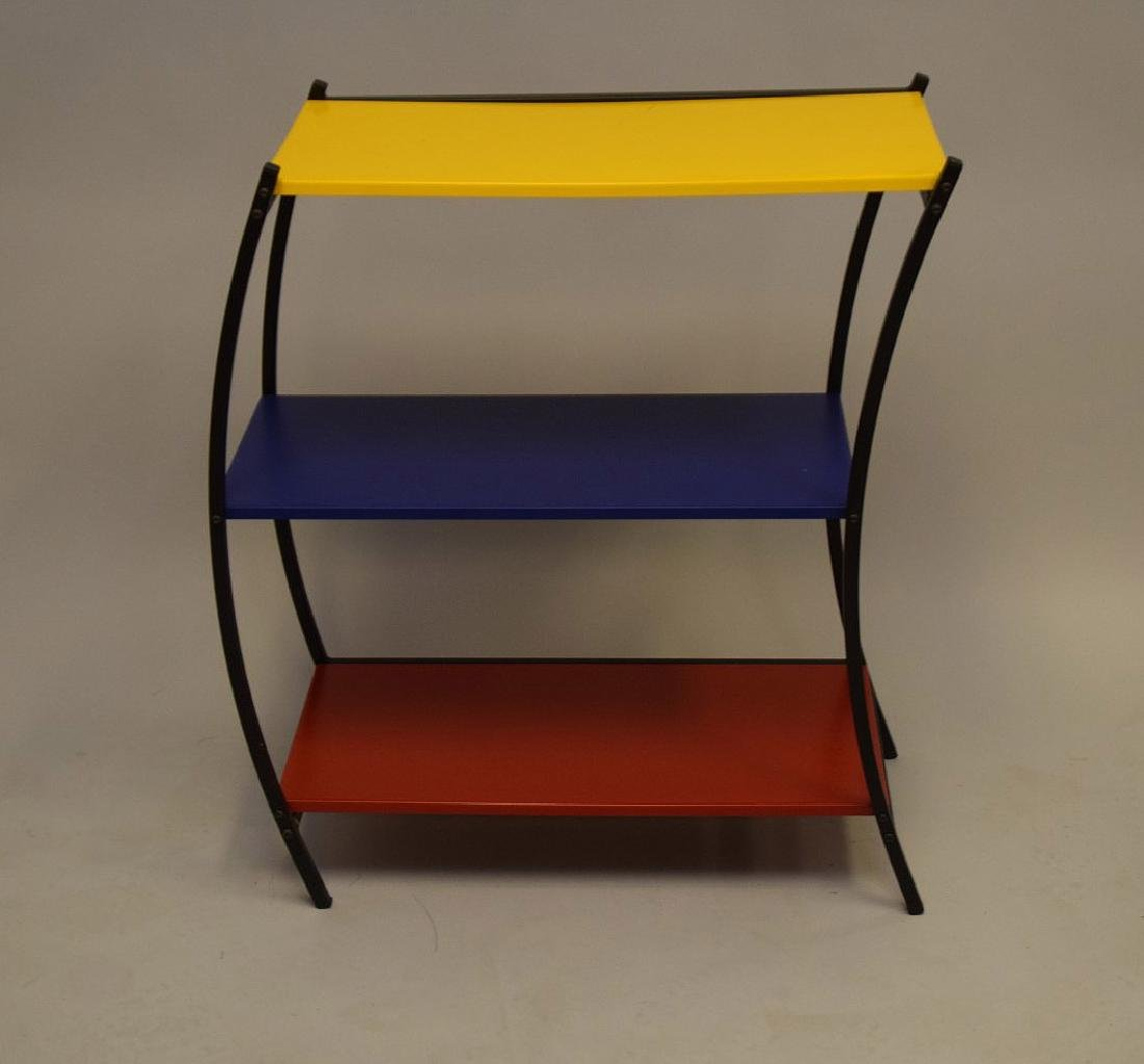 "3 tier colored metal shelving/table, Denmark, 31""h x"