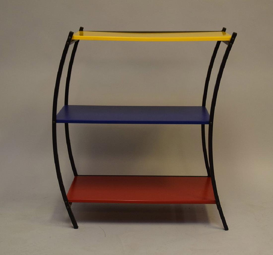 "3 tier colored metal shelving/table, Denmark, 31""h x - 2"