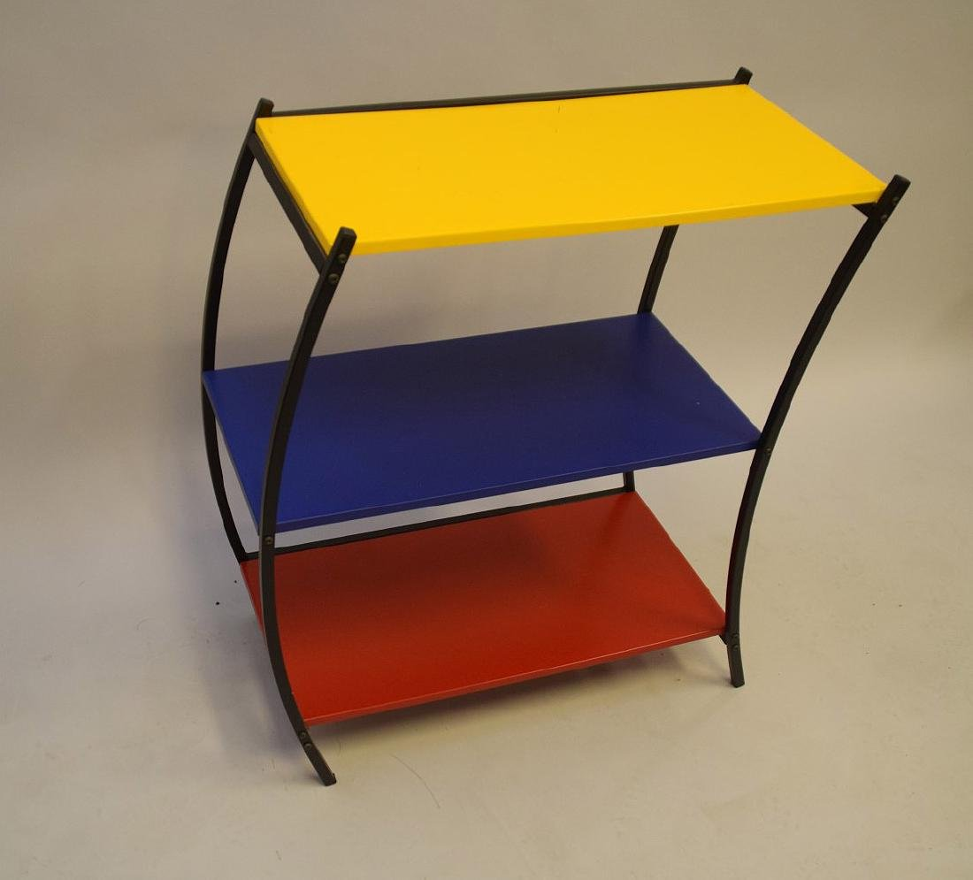 "3 tier colored metal shelving/table, Denmark, 31""h x - 3"