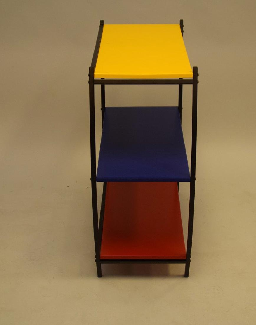 "3 tier colored metal shelving/table, Denmark, 31""h x - 4"