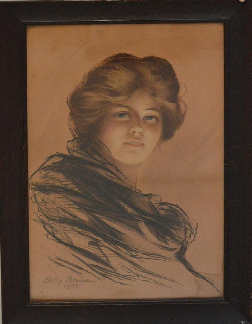 Pastel/ charcoal of young woman in oak frame, signed