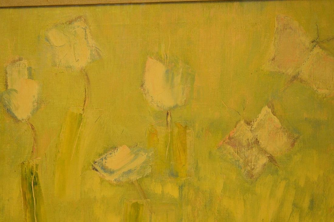 Vintage oil on canvas painting, floral abstract, no