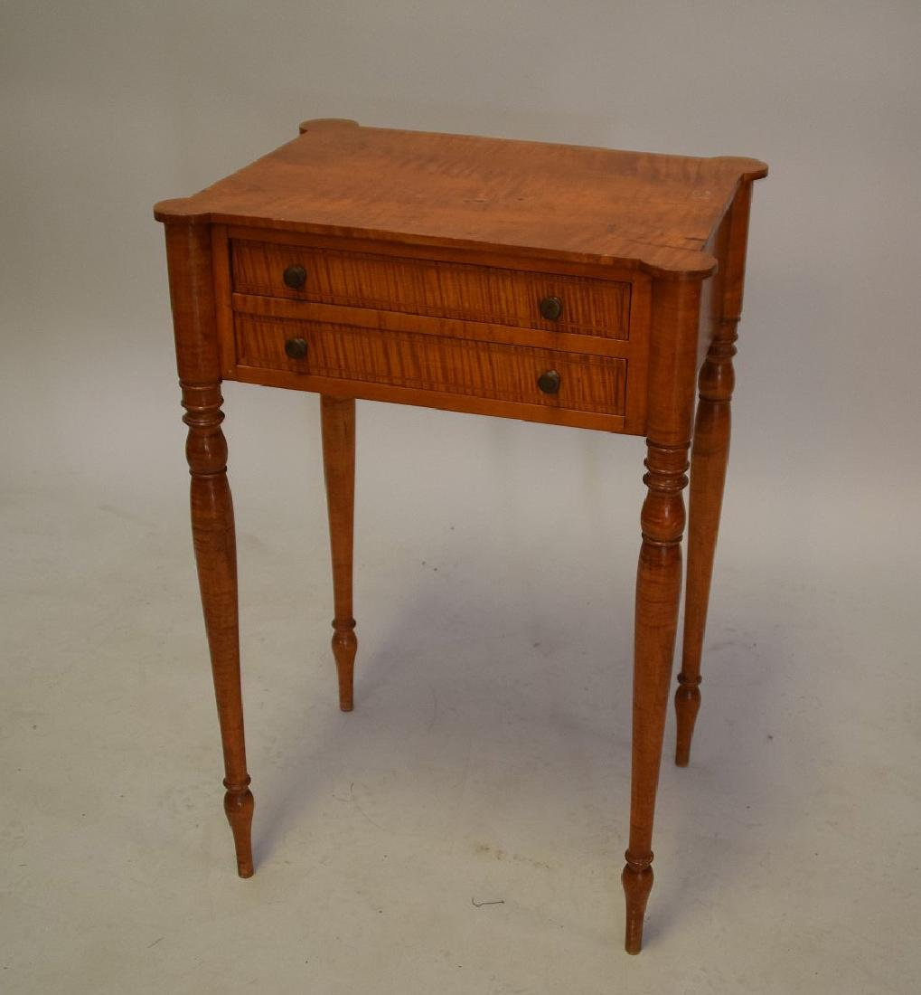 EARLY AMERICAN TIGER MAPLE TWO-DRAWER TABLE -