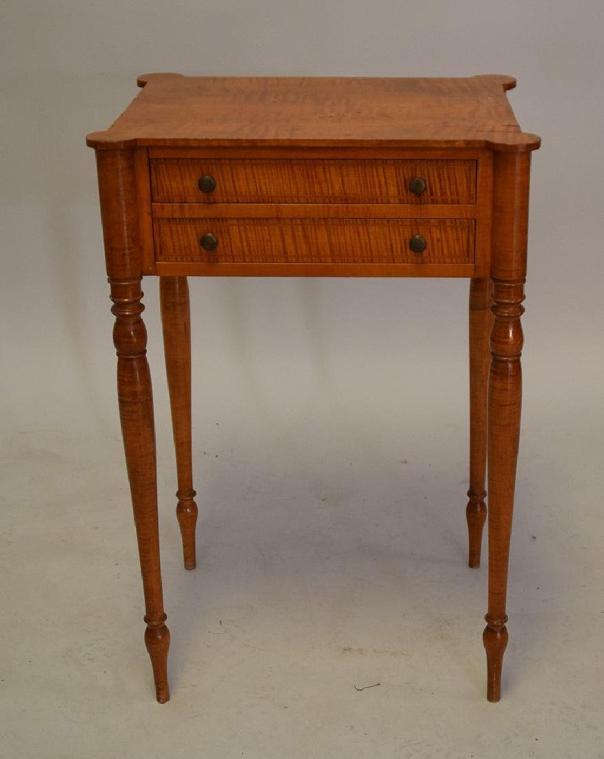 EARLY AMERICAN TIGER MAPLE TWO-DRAWER TABLE - - 2