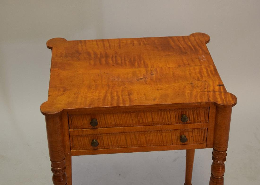 EARLY AMERICAN TIGER MAPLE TWO-DRAWER TABLE - - 3