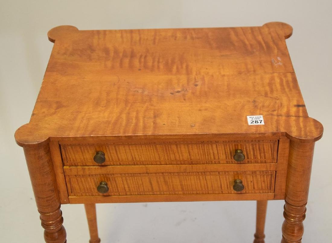 EARLY AMERICAN TIGER MAPLE TWO-DRAWER TABLE - - 6