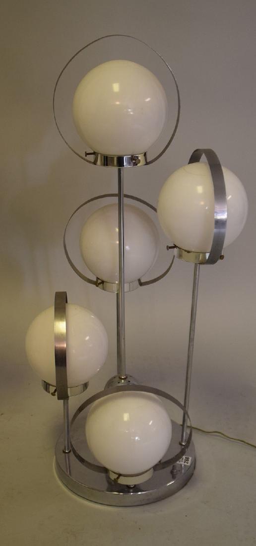 PAIR MID-CENTURY MODERN CHROME & GLASS 5-LIGHT LAMPS - - 2