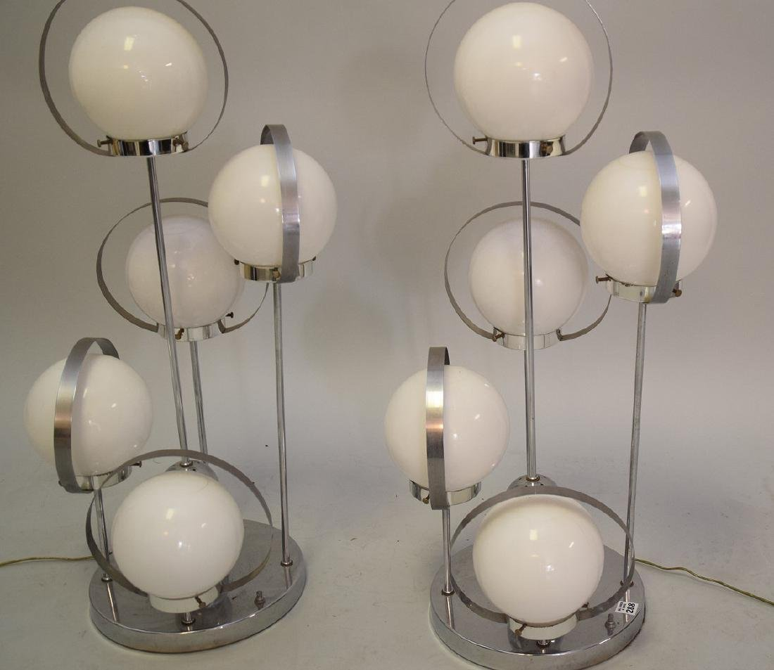 PAIR MID-CENTURY MODERN CHROME & GLASS 5-LIGHT LAMPS - - 3