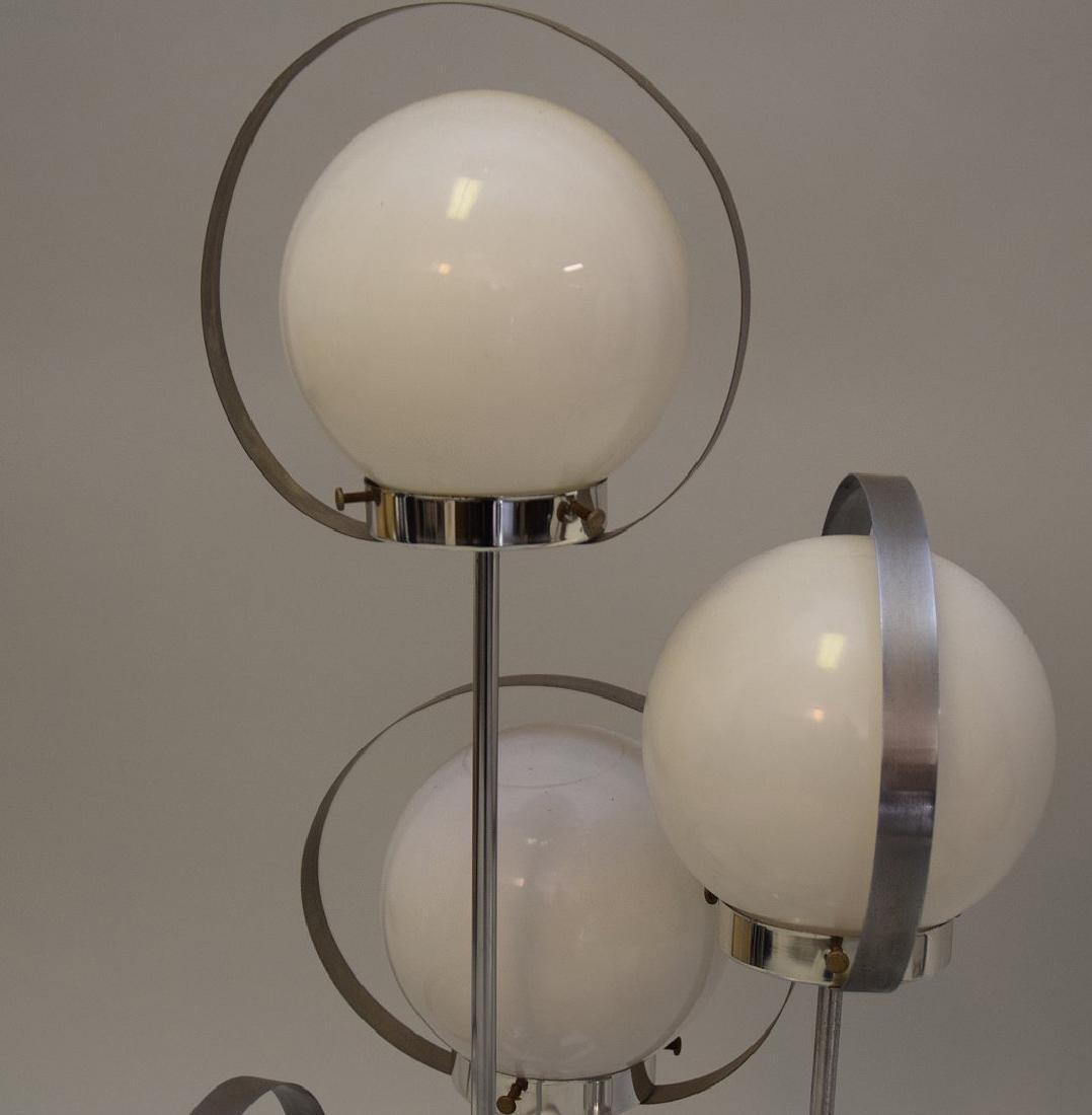 PAIR MID-CENTURY MODERN CHROME & GLASS 5-LIGHT LAMPS - - 6