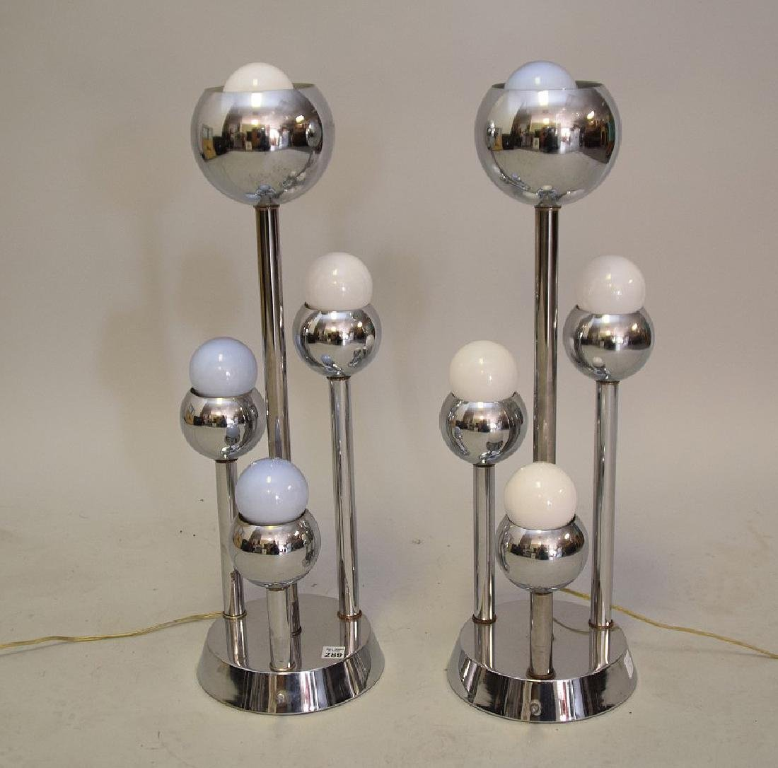 PAIR MID-CENTURY MODERN CHROME & GLASS 4-LIGHT LAMPS -