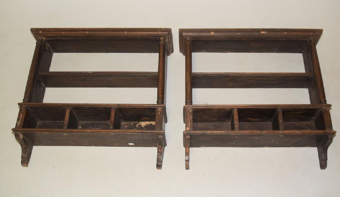 PAIR OF EARLY ENGLISH OAK HANGING SHELVES - Condition: