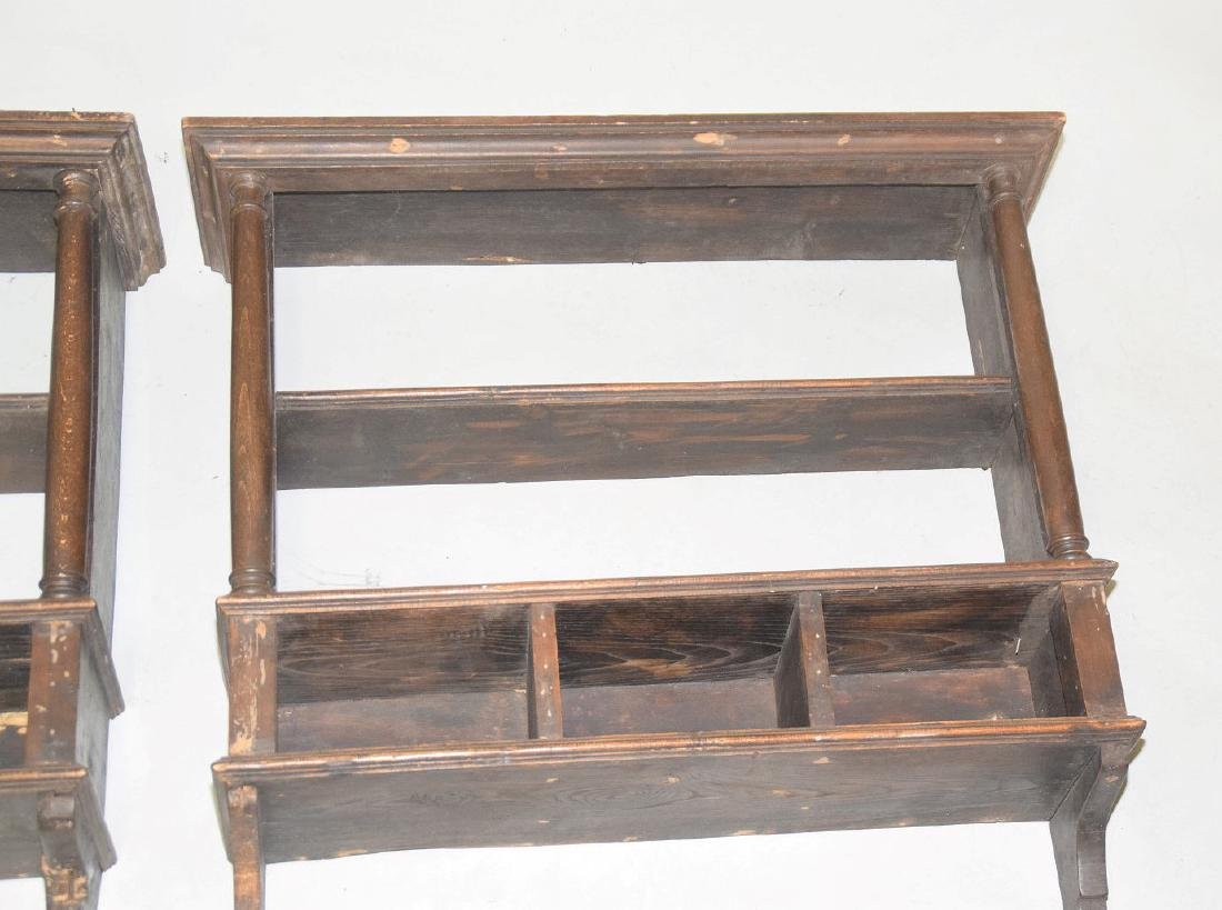 PAIR OF EARLY ENGLISH OAK HANGING SHELVES - Condition: - 2