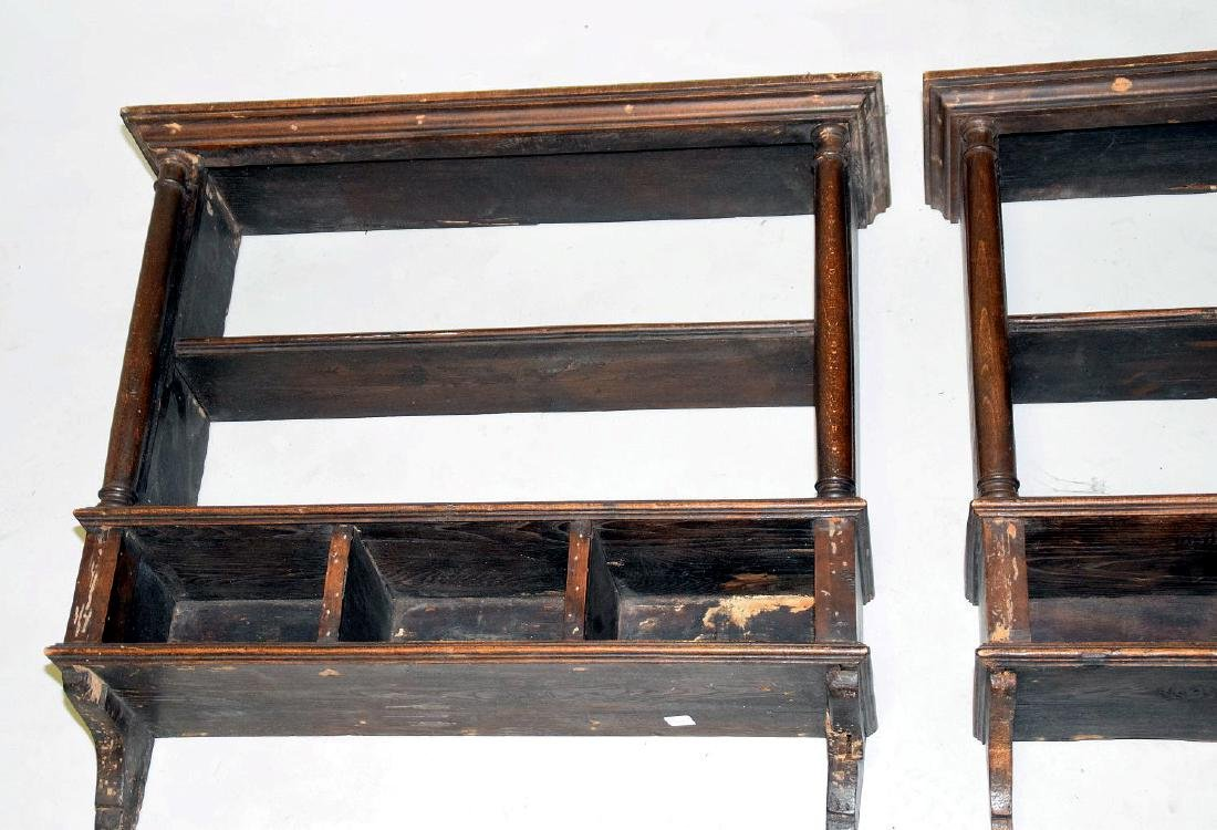 PAIR OF EARLY ENGLISH OAK HANGING SHELVES - Condition: - 3