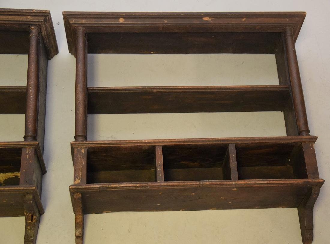 PAIR OF EARLY ENGLISH OAK HANGING SHELVES - Condition: - 5