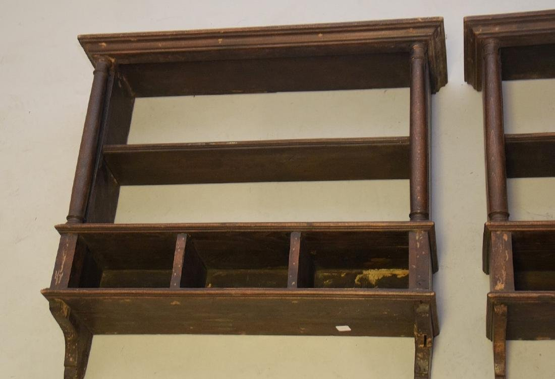 PAIR OF EARLY ENGLISH OAK HANGING SHELVES - Condition: - 6