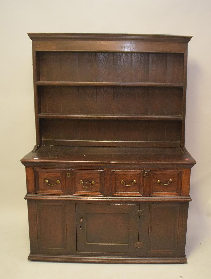 EARLY ENGLISH OAK CUPBOARD with four drawers over one