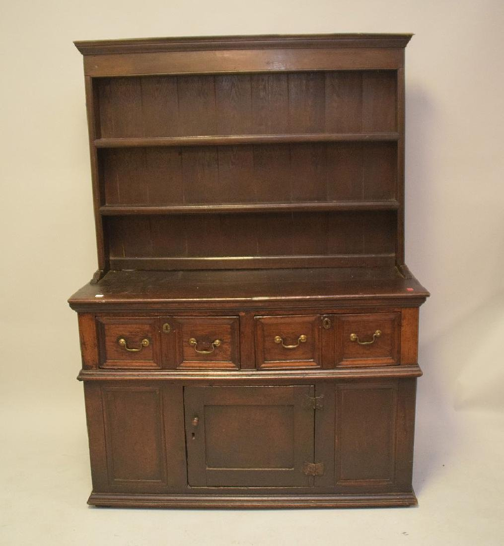 EARLY ENGLISH OAK CUPBOARD with four drawers over one - 2