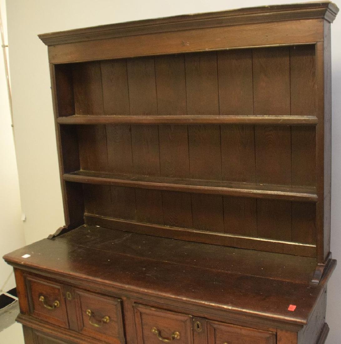 EARLY ENGLISH OAK CUPBOARD with four drawers over one - 3