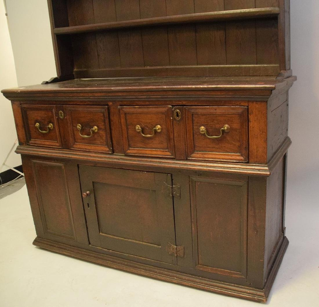EARLY ENGLISH OAK CUPBOARD with four drawers over one - 4
