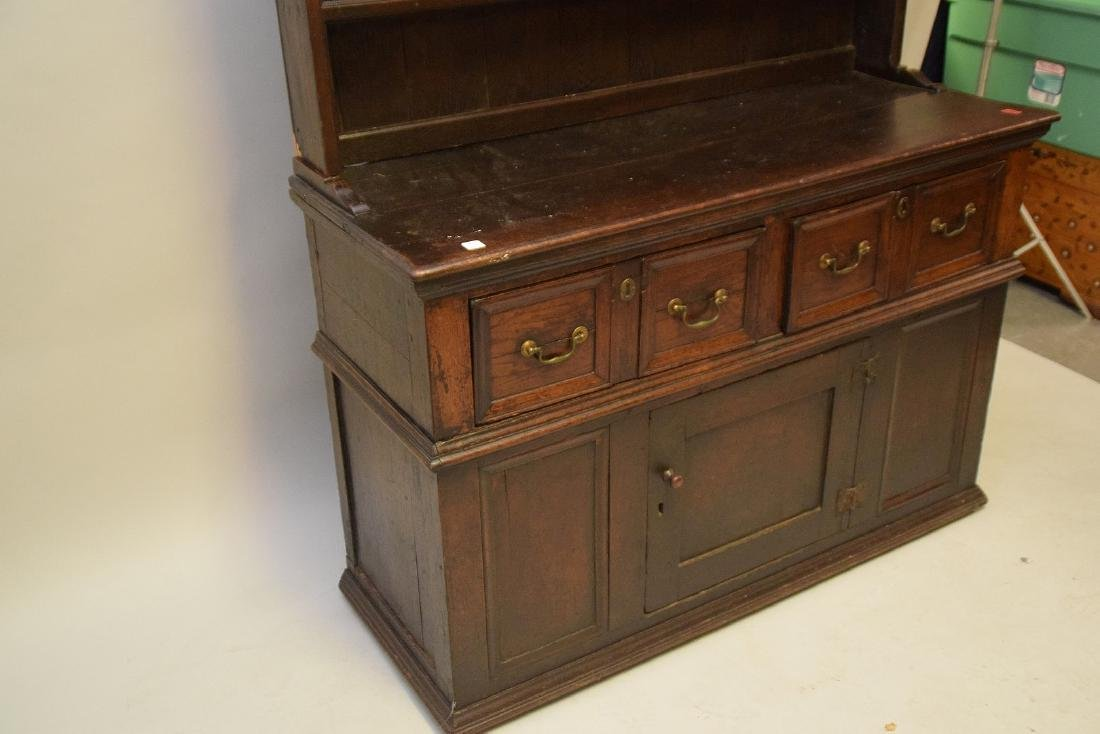 EARLY ENGLISH OAK CUPBOARD with four drawers over one - 5