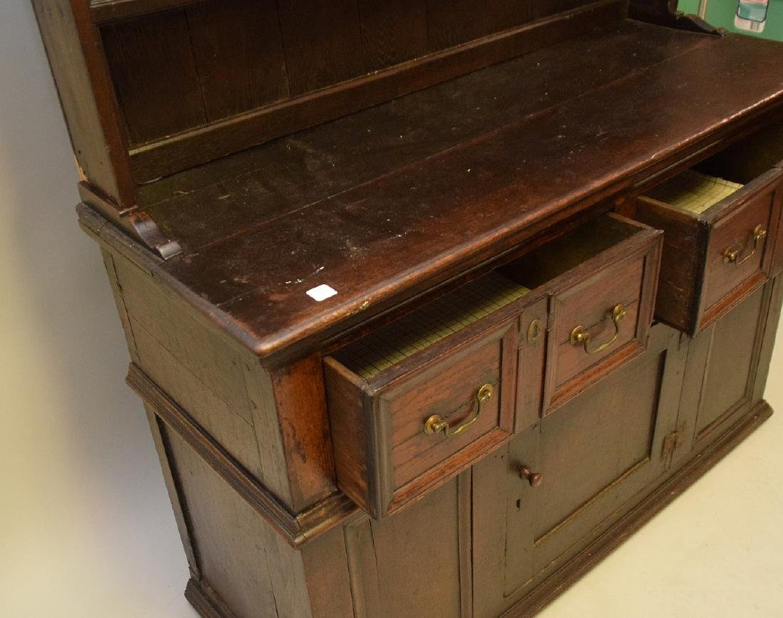 EARLY ENGLISH OAK CUPBOARD with four drawers over one - 6