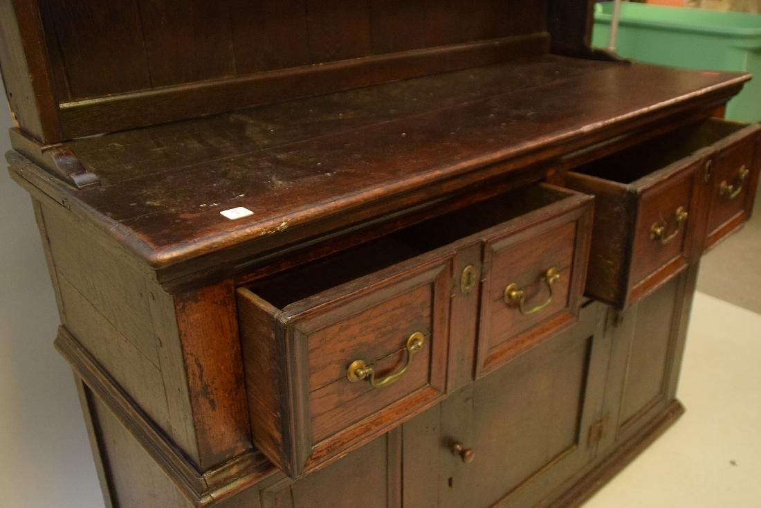 EARLY ENGLISH OAK CUPBOARD with four drawers over one - 7