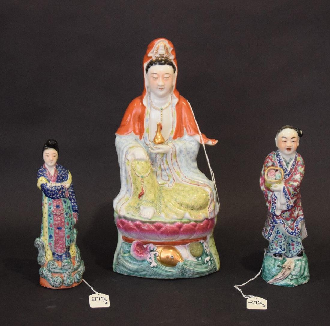 Three Chinese Republic Period Porcelain Statues, - 2