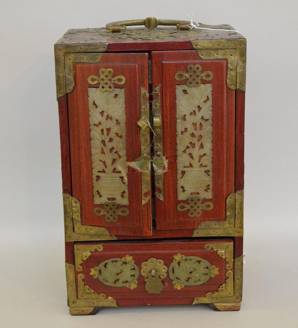CHINESE TEAK WOOD, BRASS & JADE JEWELRY BOX.  2 Doors