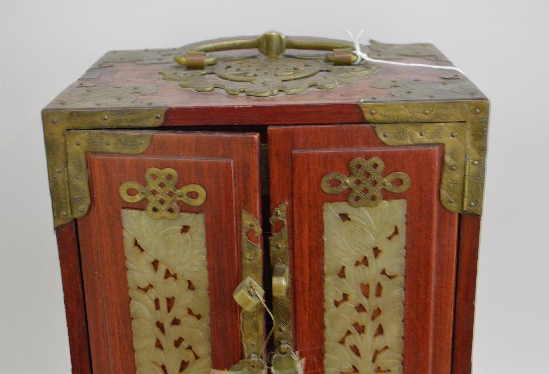 CHINESE TEAK WOOD, BRASS & JADE JEWELRY BOX.  2 Doors - 2