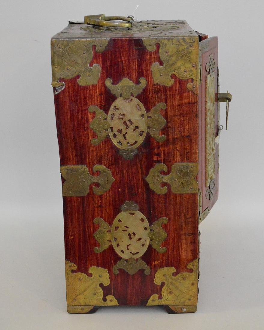CHINESE TEAK WOOD, BRASS & JADE JEWELRY BOX.  2 Doors - 4