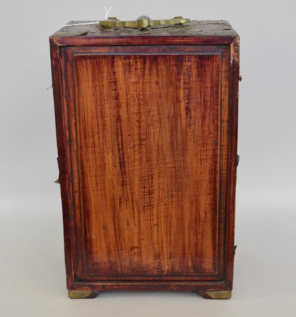 CHINESE TEAK WOOD, BRASS & JADE JEWELRY BOX.  2 Doors - 5