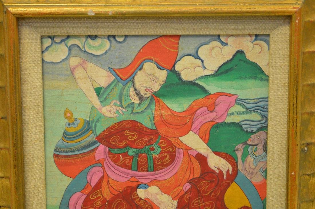 TIBETAN PAITNING ON PANNEL in carved gilt wood frame. - 2