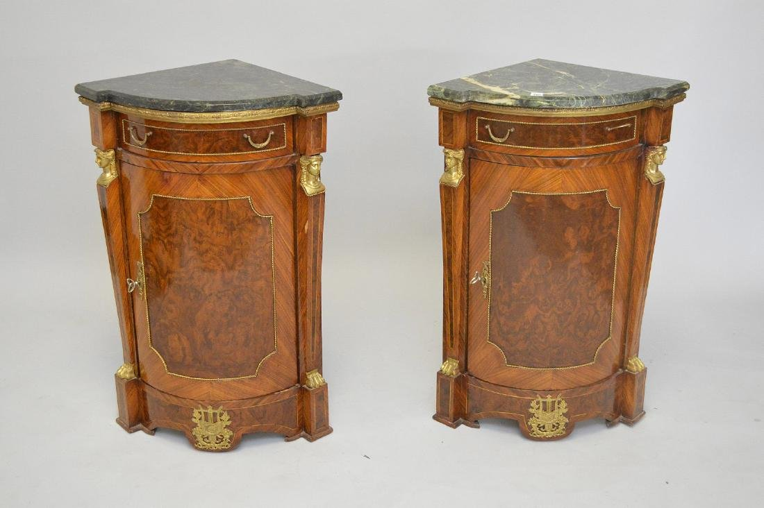 Pair of French Empire-Style Corner Cabinets