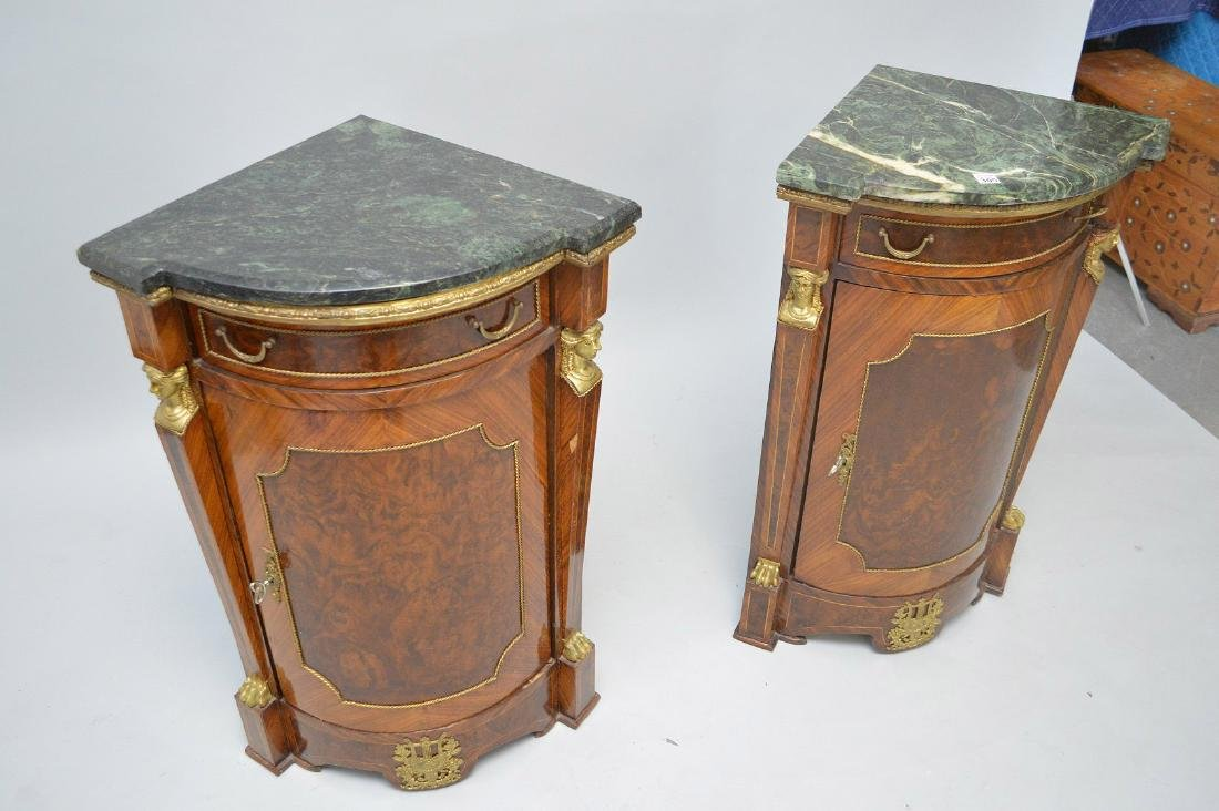 Pair of French Empire-Style Corner Cabinets - 4