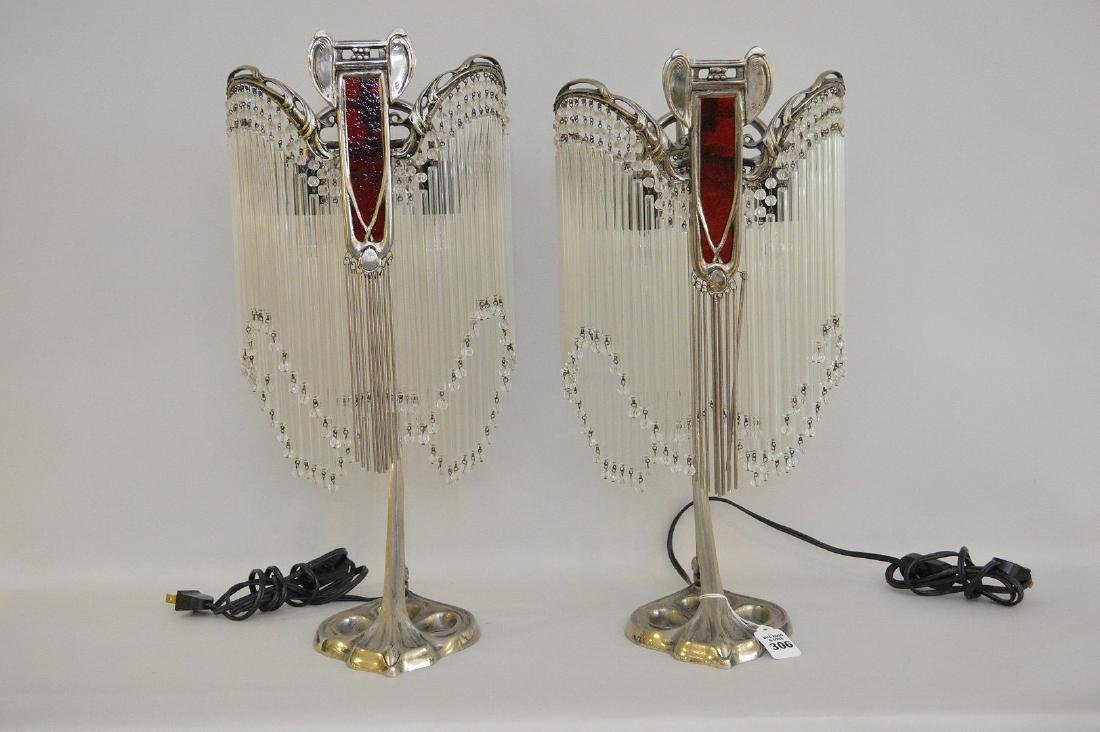Pair of Art Deco Form Silver Metal Lamps, each with
