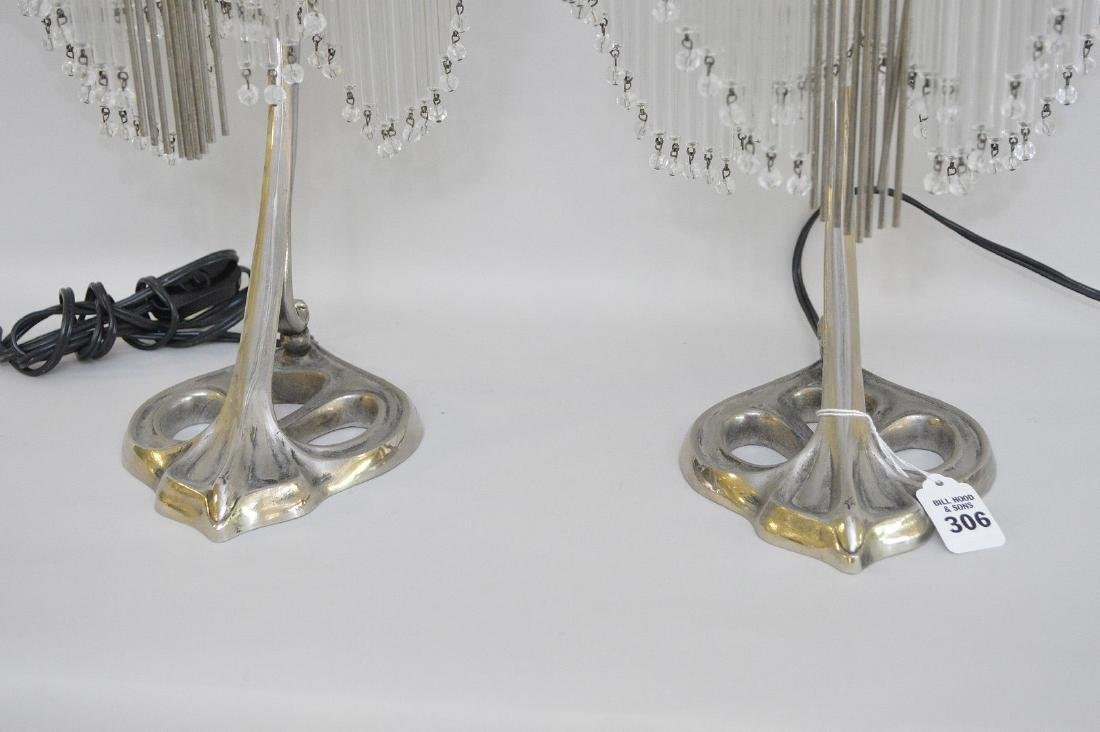 Pair of Art Deco Form Silver Metal Lamps, each with - 3