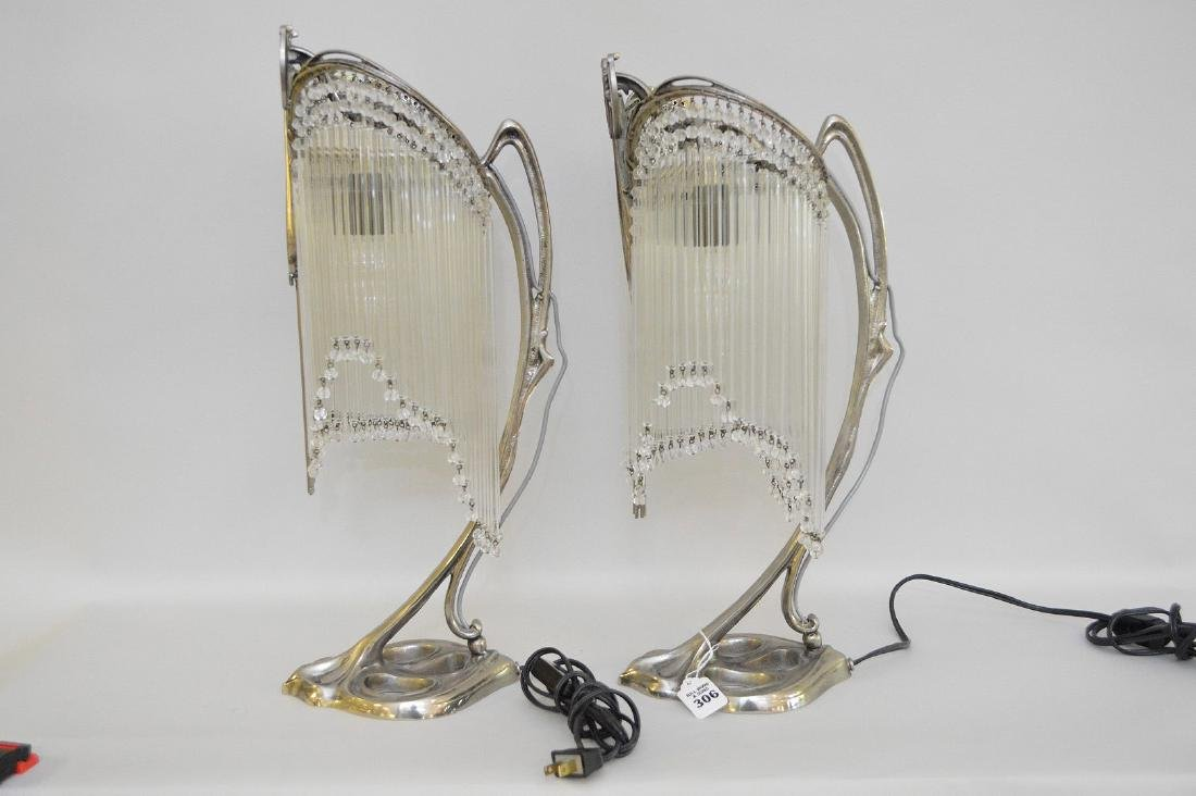 Pair of Art Deco Form Silver Metal Lamps, each with - 4