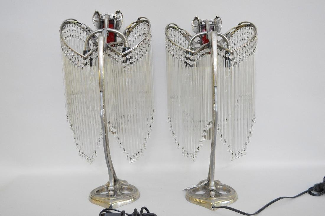 Pair of Art Deco Form Silver Metal Lamps, each with - 5