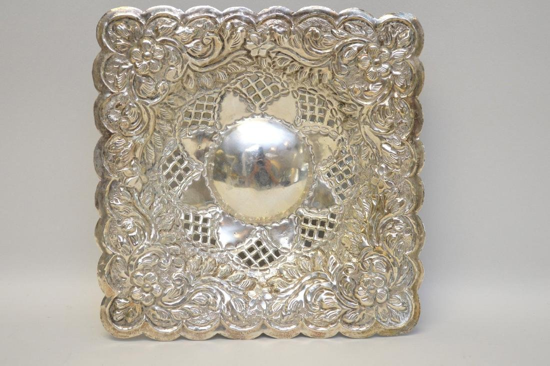 EGYPTIAN STERLING SILVER REPOSSE SQUARE DISH - Has