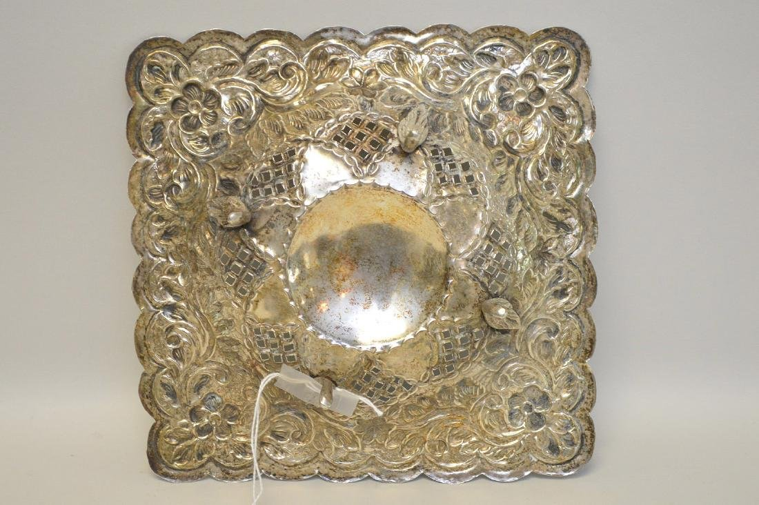 EGYPTIAN STERLING SILVER REPOSSE SQUARE DISH - Has - 3