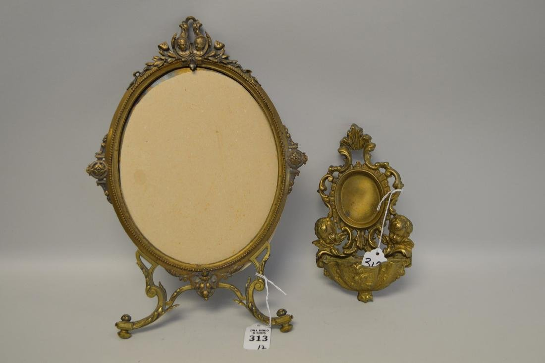 """TWO BRONZE FRAMES - Standing frame 14"""" H, holds oval 8"""