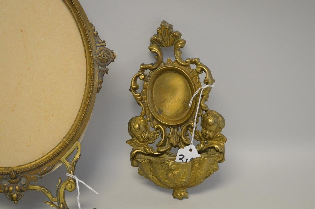 """TWO BRONZE FRAMES - Standing frame 14"""" H, holds oval 8 - 2"""