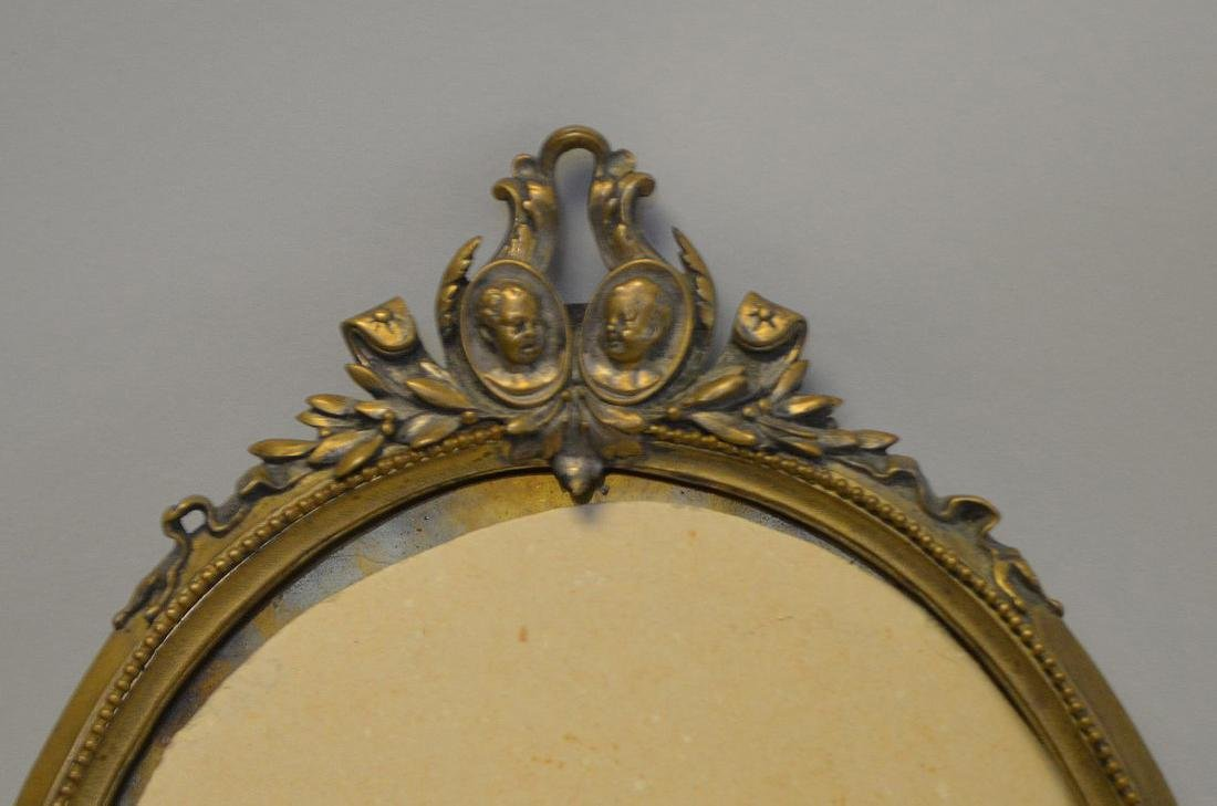 """TWO BRONZE FRAMES - Standing frame 14"""" H, holds oval 8 - 3"""